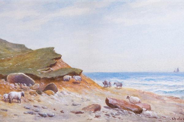 Grazing Sheep on Naushon by Charles Henry Gifford (1839-1904)