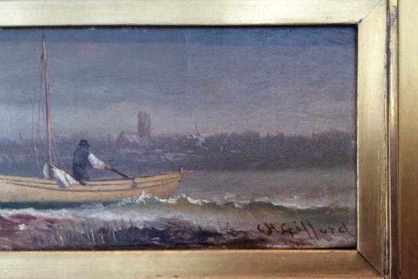 Two Men Beaching Boat by Charles Henry Gifford (1839-1904)