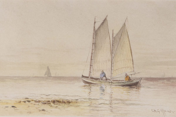 Two Men in a Ketch by Charles Henry Gifford (1839-1904)